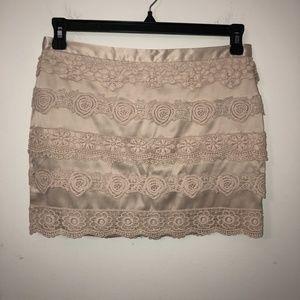 XXI mini skirt M lace pink crochet Boho